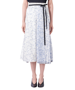 STAMP PRINT PLEATED WRAP SKIRT