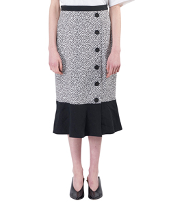 FLOWER PATTERNED COTTON AND LINEN SKIRT