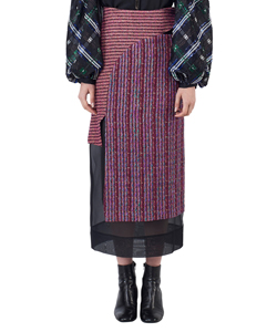 LAME TWEED LONG SKIRT