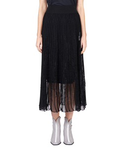 PLEATED KNIT FLARED SKIRT