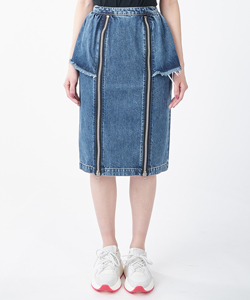 WASHED DENIM ZIPPED SKIRT