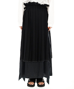 WOOL BOIL LAYERED PLEATED SKIRT