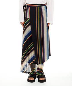 SUITING WOOL PLEATED SKIRT STRIPE