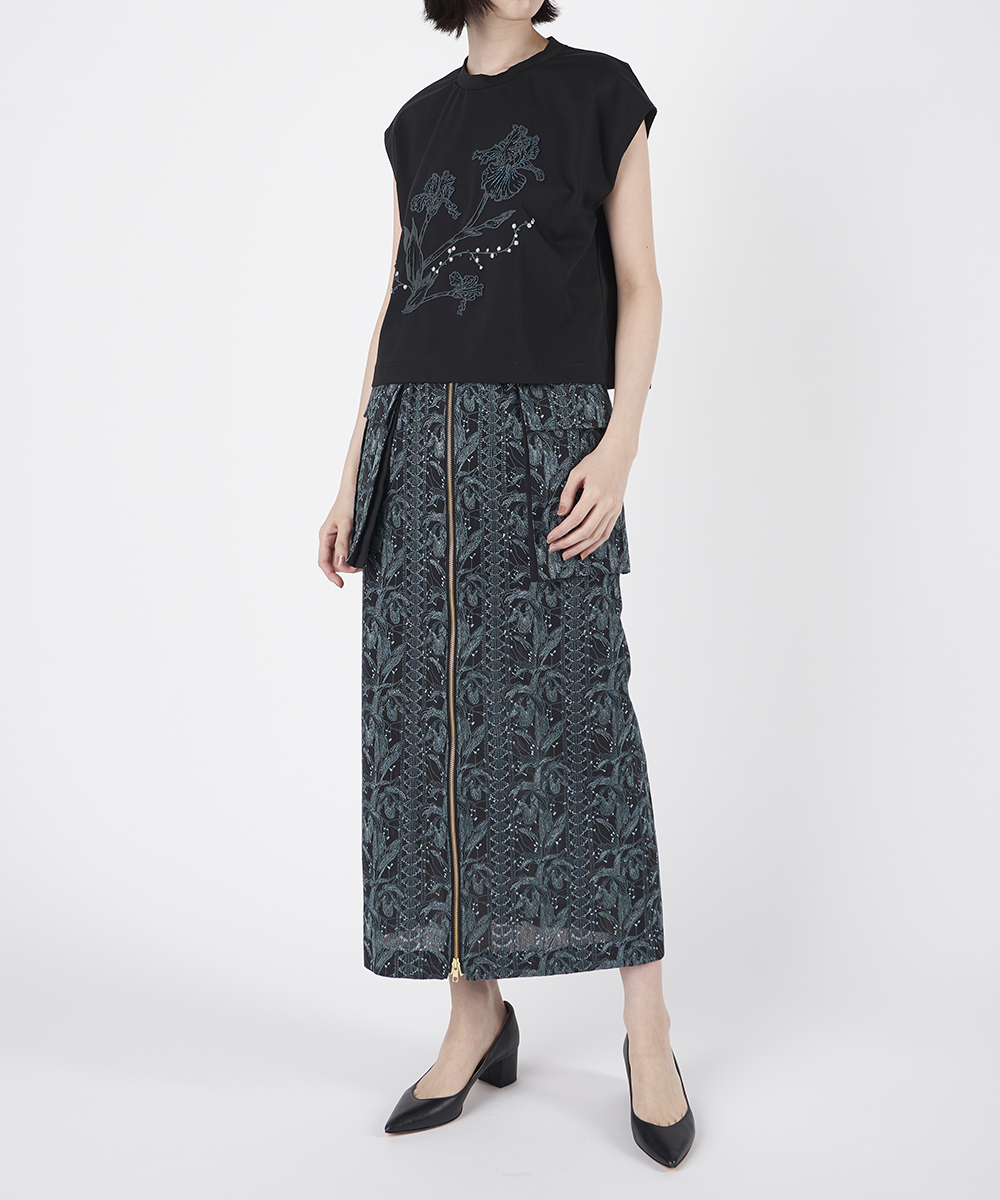 FLOWER EMBROIDERY WORK SKIRT