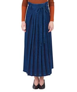 LONG DENIM PLEATED SKIRT