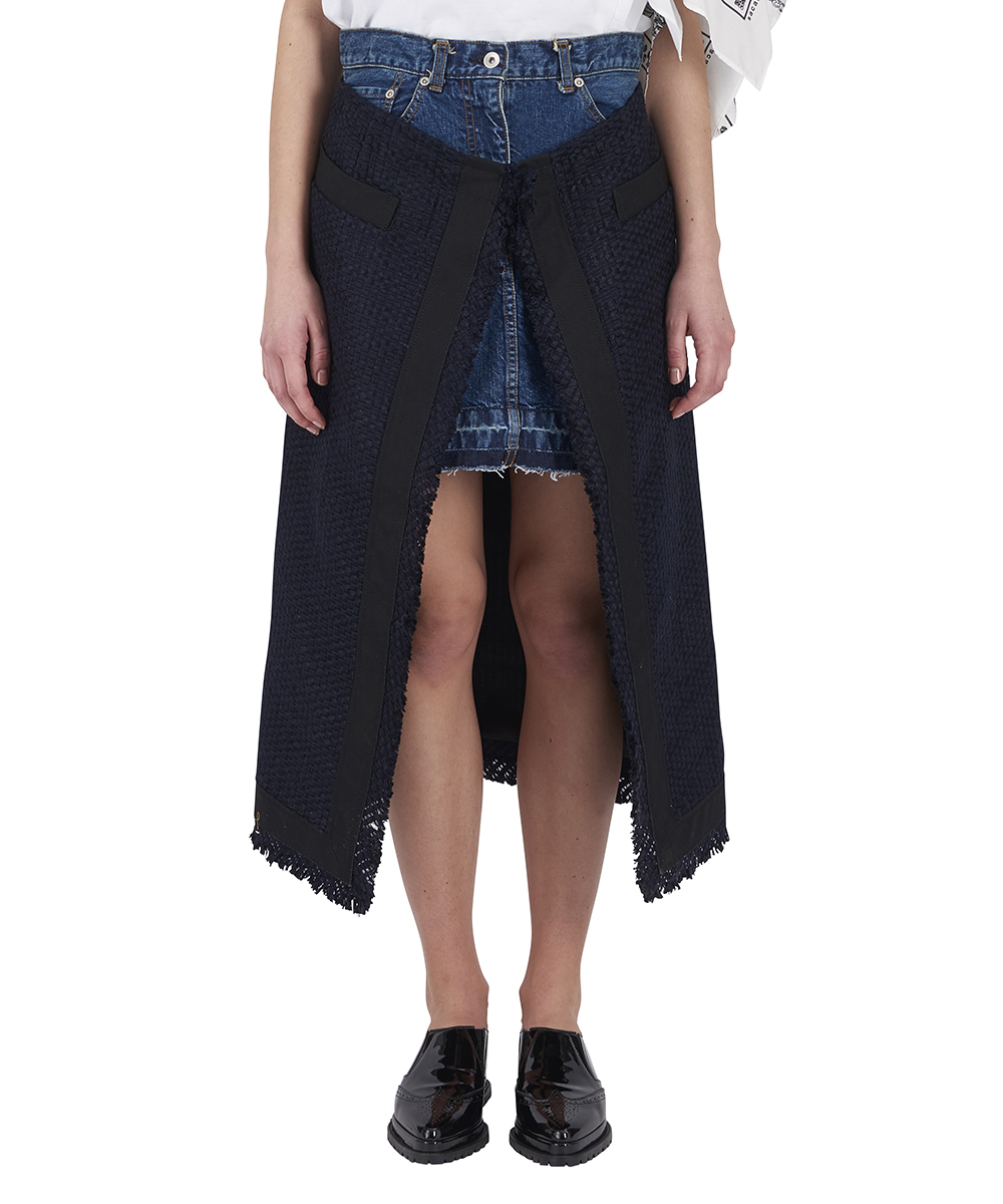 SUMMER TWEED DENIM SKIRT