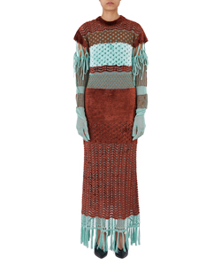 PLATING MOLE KNIT FRINGE DRESS