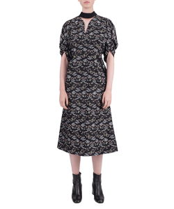 FLORAL CUT JACQUARD VOLUME SLEEVES DRESS