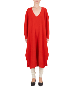 FINE WOOL V BACK DRAPE DRESS