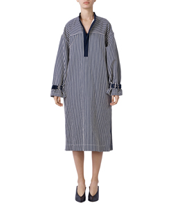 COTTON LINEN STRIPE PULLOVER SHIRT DRESS