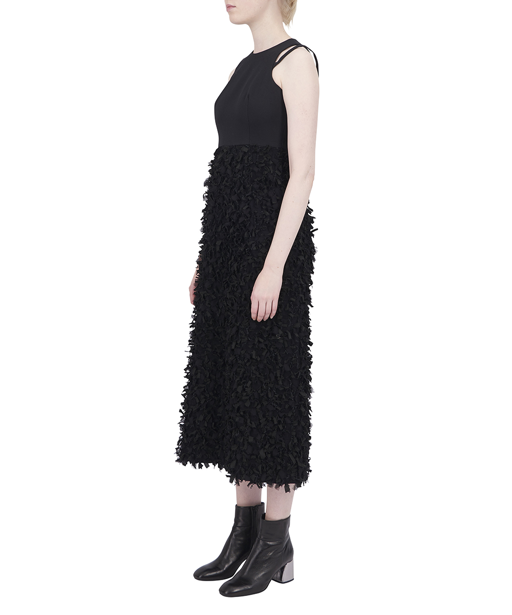 FEATHER JAQUARD DRESS