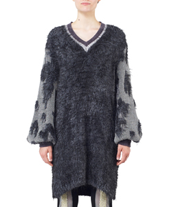 LAME JACQUARD KNIT SLEEVES TUNIC