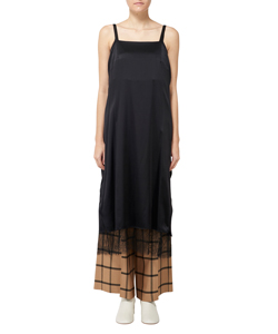 SILK SALOPETTE DRESS WITH LACE