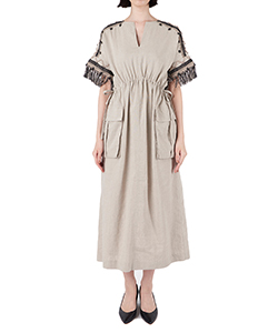 LINEN GATHER DRESS