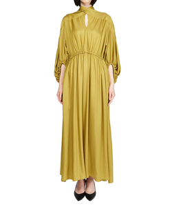 NYRA GATHERED HALTHER-NECK DRESS YE