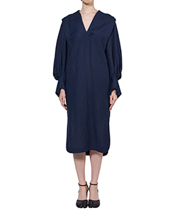 VOLUMED SLEEVE LINEN RAYON V-NECK DRESS