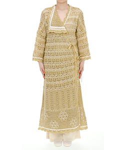 FLORAL WATERMARK WRAP-FRONT KNITTED DRESS