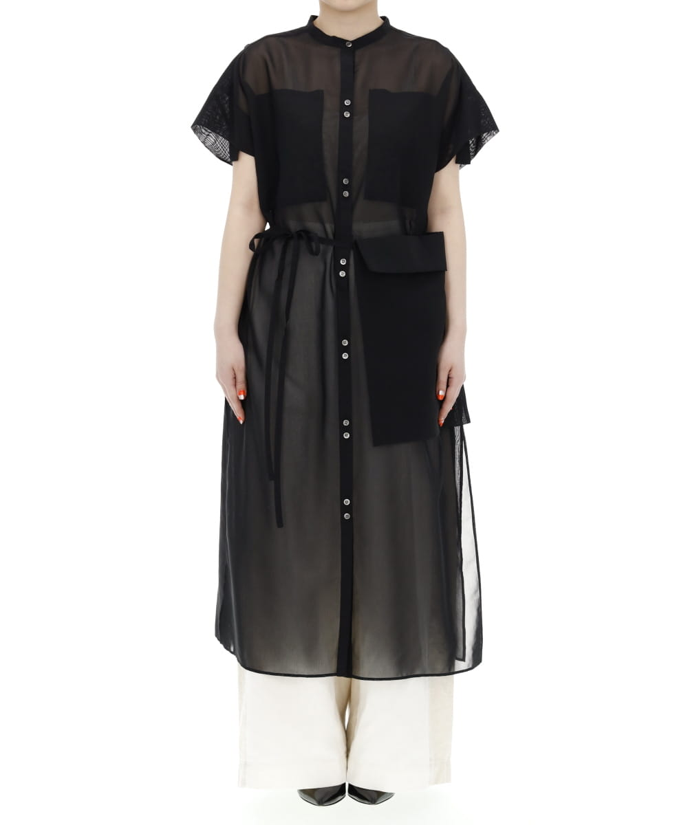 SHEER COTTON LONG SHIRT DRESS WITH POCKET