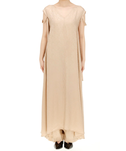 CUPRO VISCOSE JAQUARD V-NECKED DRESS