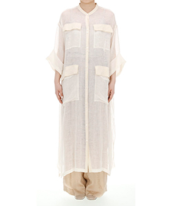 LENO CLOTH LONG SHIRT DRESS
