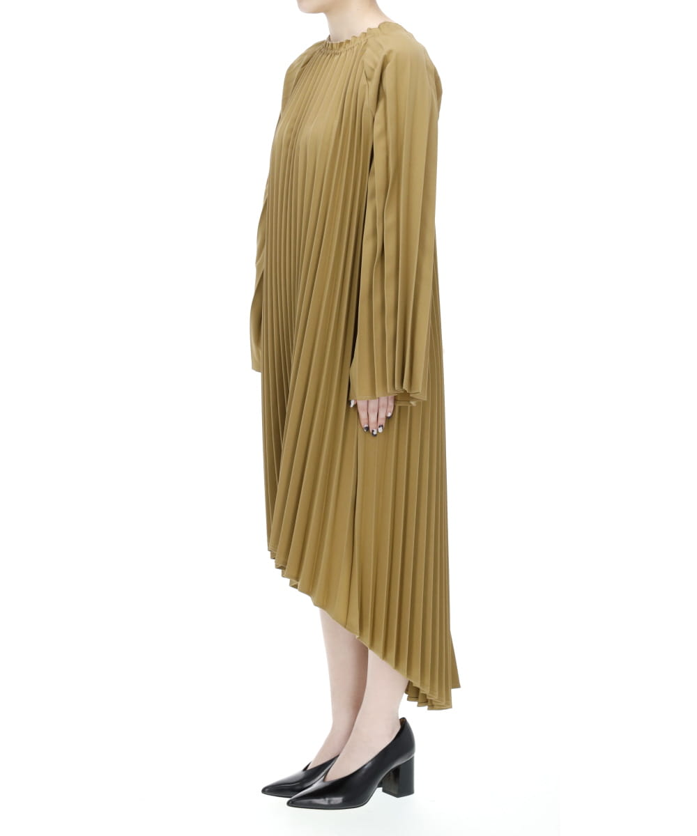 BELTED PLEATS MAXI DRESS