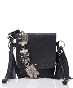 PLATE CHAIN LEATHERCOMBINATION BAG