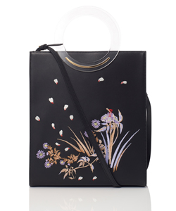 BOTANICAL EMBROIDERY LEATHER TOTE BAG