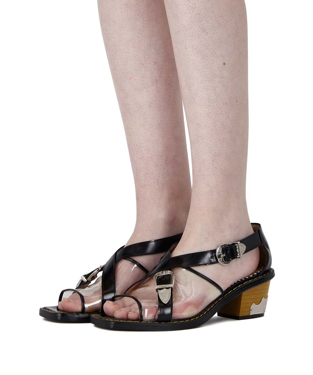 STACKED WESTERN SANDAL