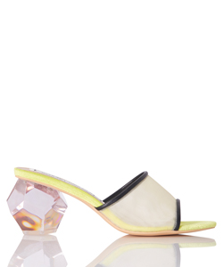 CLEAR DODECAHEDRON HEEL MULES