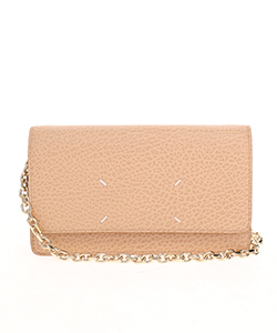 GRAINY EMBOSSED LEATHER;LARGE CHAIN WALLET