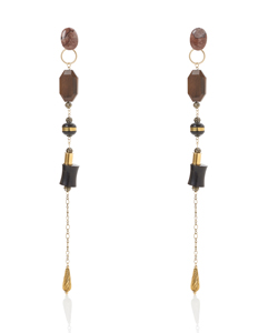 WOOD LONG EARRING