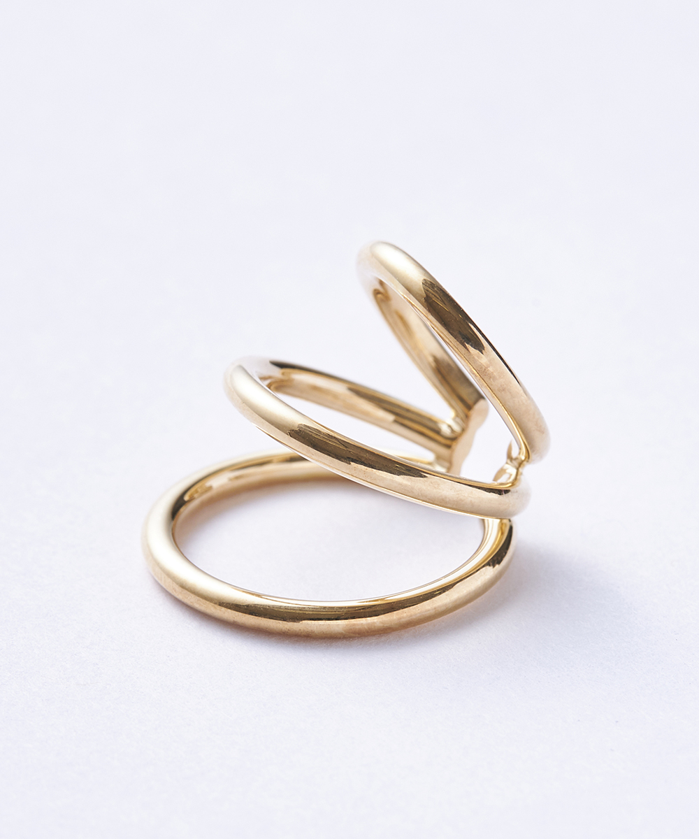 WIRE BOLD EARCUFF TRIPLE GOLD PLATED