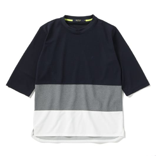 Mesh panel cropped sleeve T-shirt