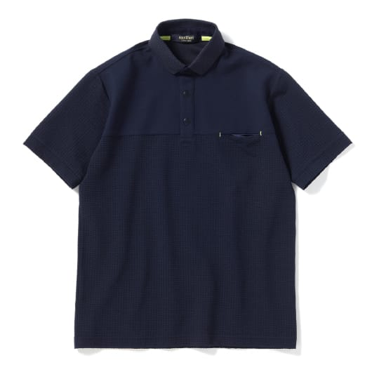 Knitsucker seam pocket polo shirt