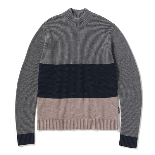 Color panel washable mid neck knit