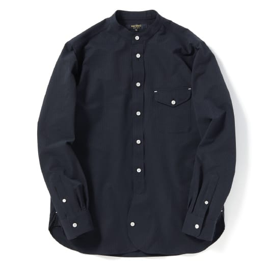 Stretch seersucker band collar shirt