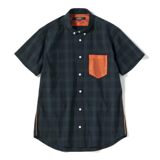 Seersucker mesh pocket  short sleeve shirt