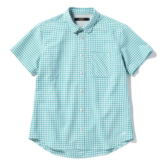 Mesh inner gingham short sleeve shirt