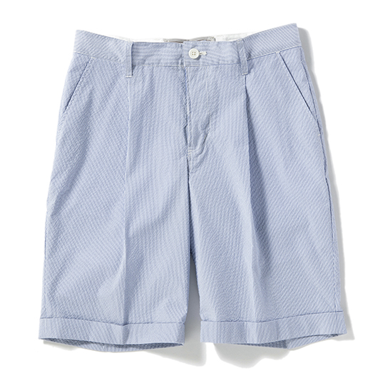 Seersucker one tuck shorts