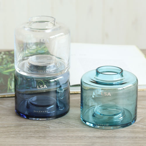 【LSA(エルエスエー)】STACK VASE TRIO SET3 CLEAR/BLUE