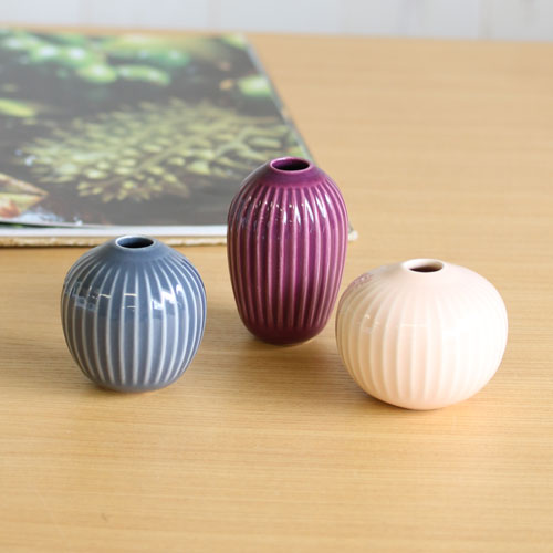 【KAHLER(ケーラー)】Hammershoi Vase 3-Pack rose