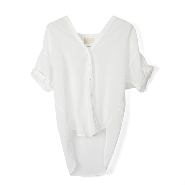 Collarless Voile Shirts/WHITE