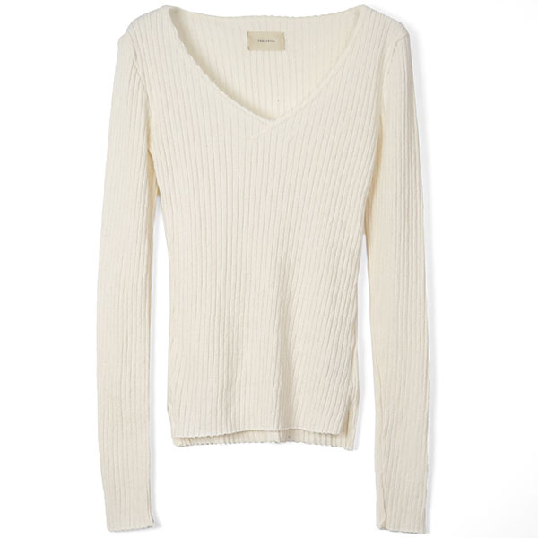 Cottonwool Vneck Tops/ECRU