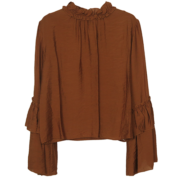 FLARE SLEEVE BLOUSE/BROWN