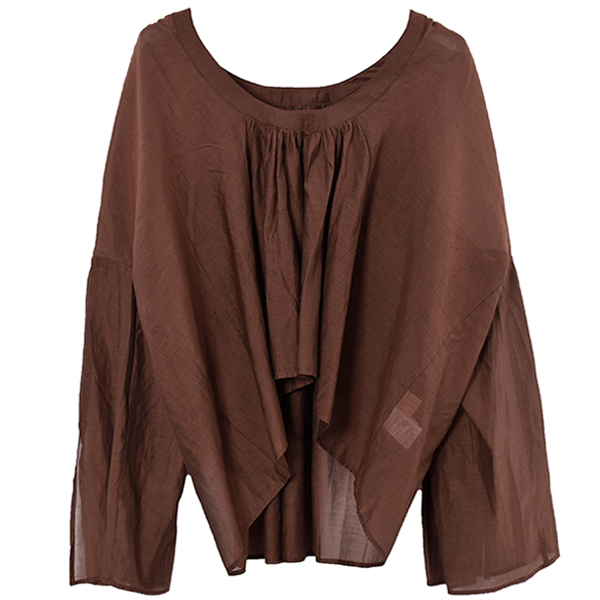 Cottonsilk Organdie Blouse/BROWN
