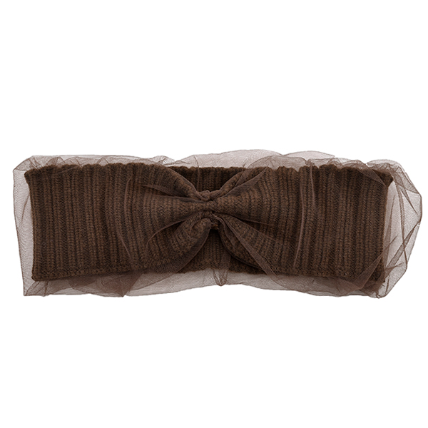 Knit x Tulle Turban/BROWN