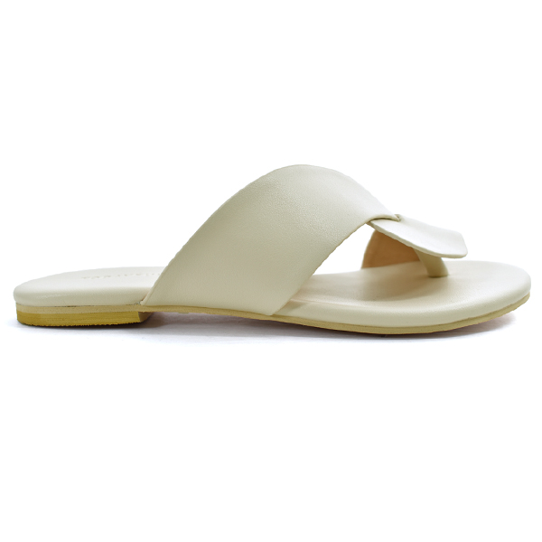 Leather Cross Sandals/ECRU