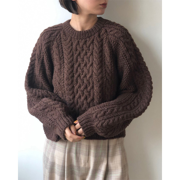 Cable Wool Knit/BROWN