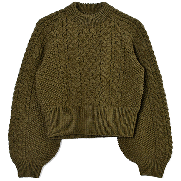 Cable Wool Knit/OLIVE