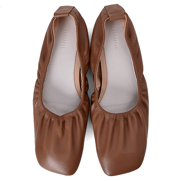 Shirring Ballet Shoes/CAMEL